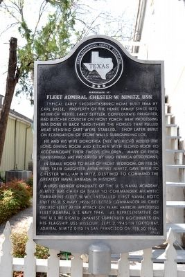 Birthplace of Fleet Admiral Chester W. Nimitz, USN Marker image. Click for full size.