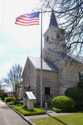 Memorial Next to Flagpole of Fredericksburg Bible Church image. Click for full size.