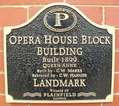Opera House Block Building Landmark Marker image. Click for full size.