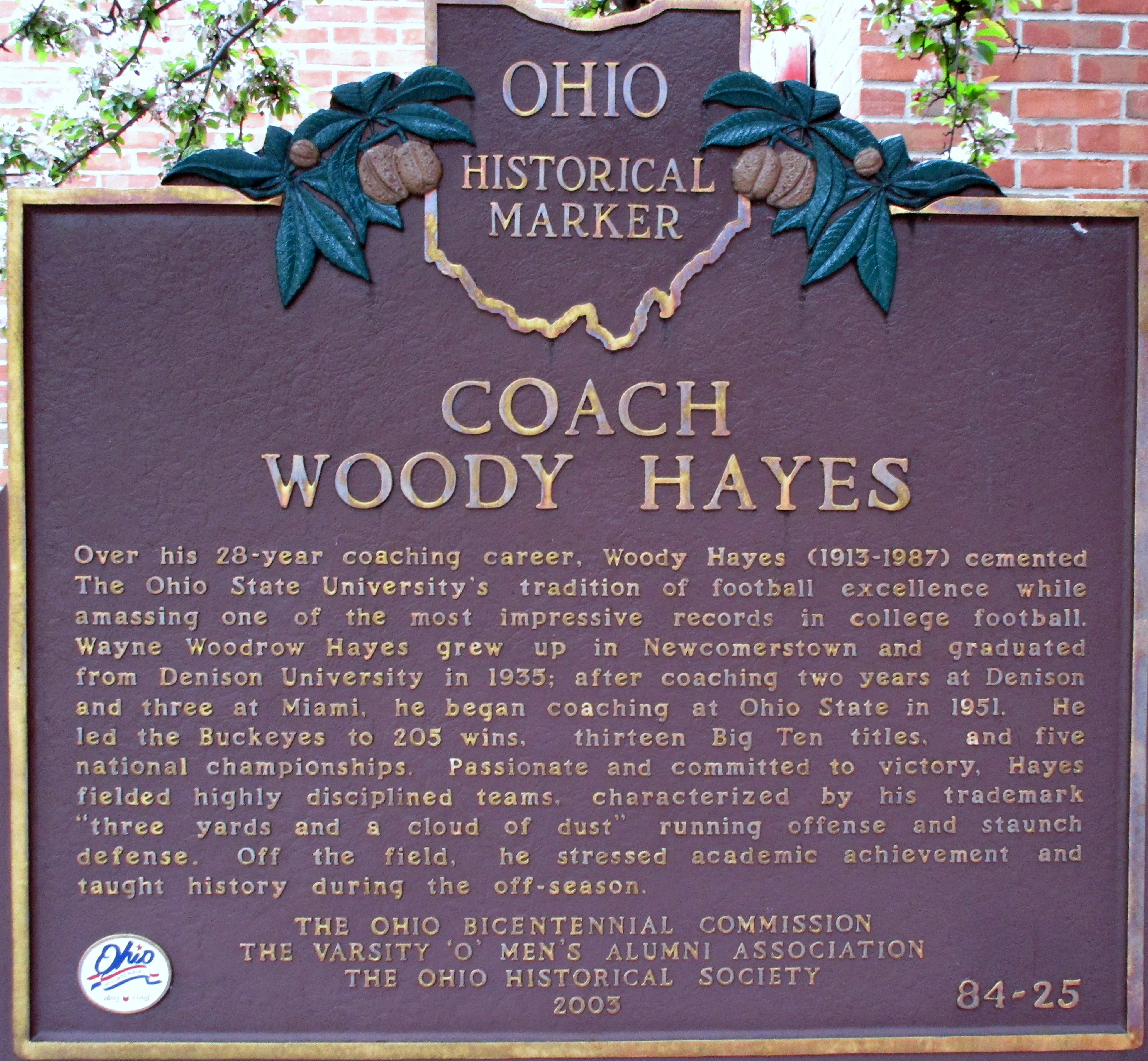 Coach Woody Hayes Marker