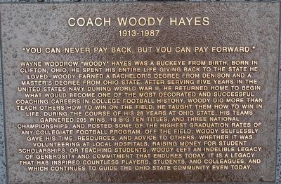 Coach Woody Hayes Marker image. Click for full size.