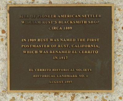 Site of Pioneer American Settler William Rust's Blacksmith Shop Marker image. Click for full size.