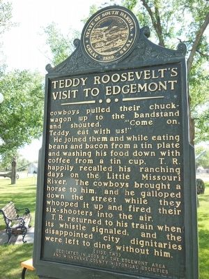 Teddy Roosevelts&#39;s Visit to Edgemont Marker (<i>side 2</i>) image. Click for full size.