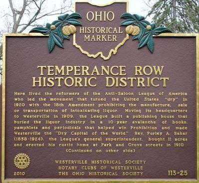 Temperance Row Historic District Marker image. Click for full size.