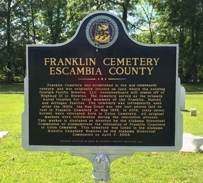 Franklin Cemetery Marker image. Click for full size.