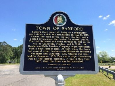 Town of Sanford Marker (Side 1) image. Click for full size.