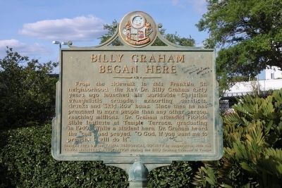 Billy Graham Began Here Marker image. Click for full size.