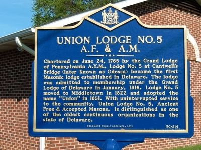 Union Lodge No. 5 A.F.&A.M. Marker image. Click for full size.