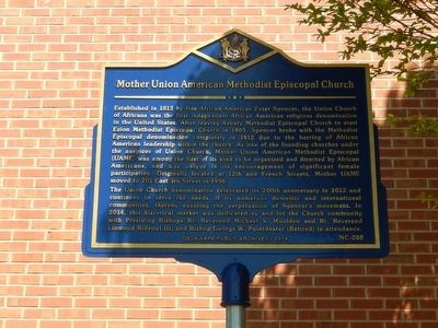 Mother Union American Methodist Episcopal Church Marker image. Click for full size.
