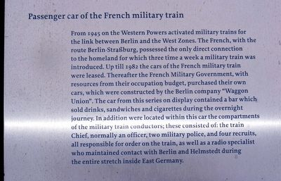 Passenger Car of the French Military Train Marker image. Click for full size.