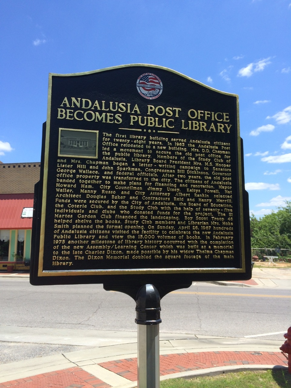 Andalusia Post Office becomes Public Library Marker