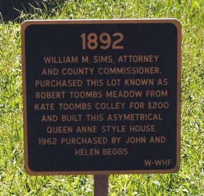 Sims-Beggs House Marker image. Click for full size.