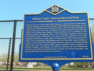 "William ""Judy"" Johnson Park Marker image. Click for full size."