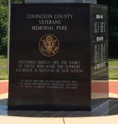 Covington County War Memorial Marker (West Side) image. Click for full size.