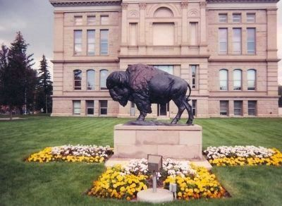 Wyoming's Wildlife-Bison bronze statue at the State Capitol image. Click for full size.