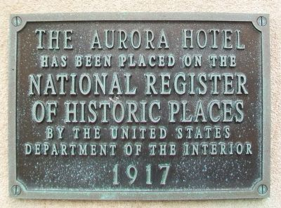 Aurora Hotel NRHP Marker image, Touch for more information