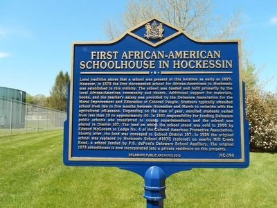 First African-American Schoolhouse In Hockessin Marker image. Click for full size.