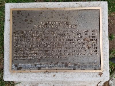 Quarters 213, Chaparral House Marker image. Click for full size.