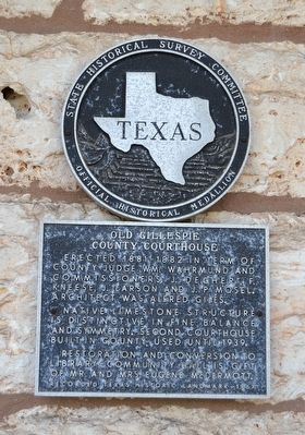 Old Gillespie County Courthouse Marker image. Click for full size.