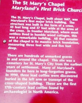 The St. Mary's Chapel Marker image. Click for full size.