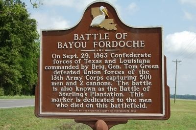 Battle of Bayou Fordouche Marker image. Click for full size.