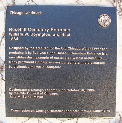 Rosehill Cemetery Entrance Marker image. Click for full size.
