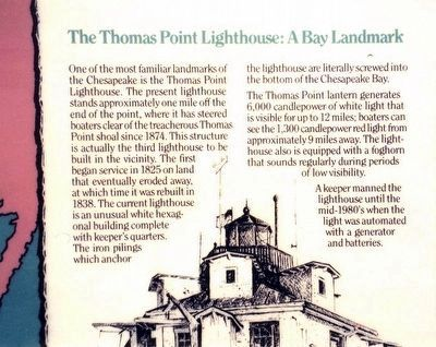 Thomas Point Marker-Right side close up image. Click for full size.