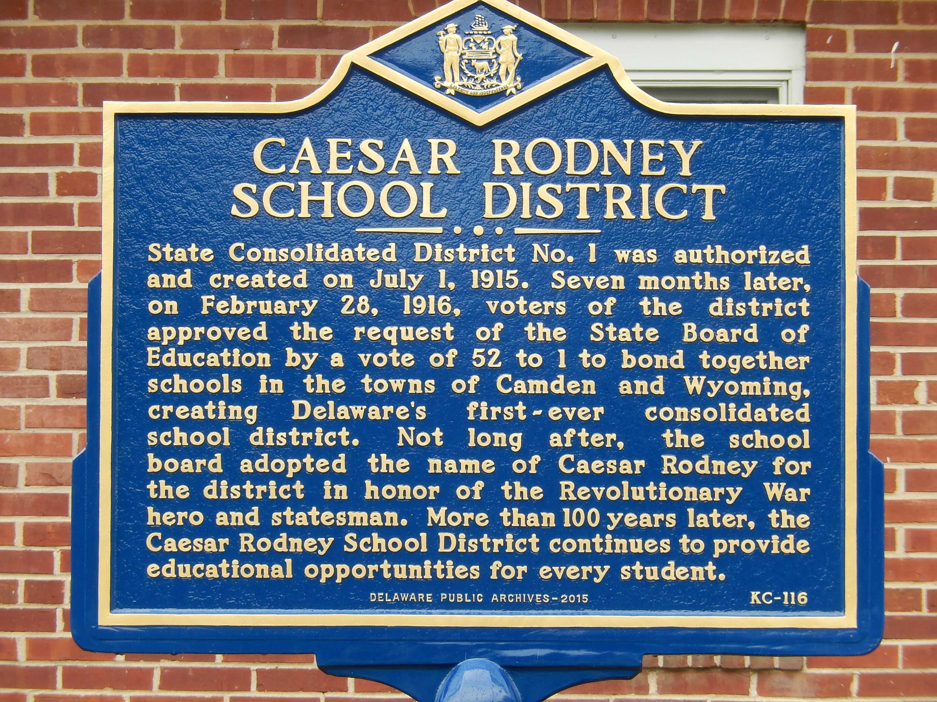 Caesar Rodney School District Marker
