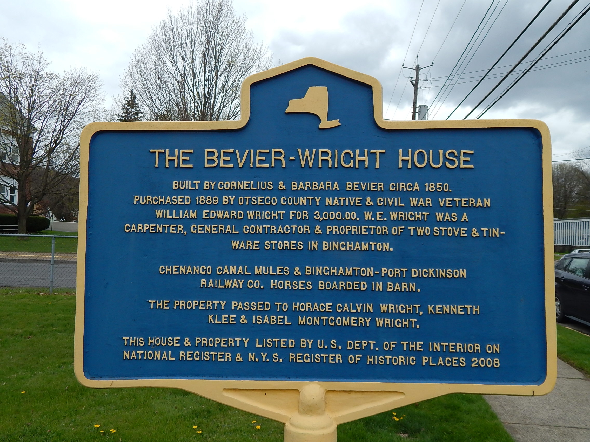 The Bevier-Wright House Marker