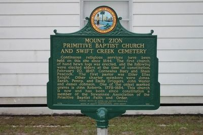 Mount Zion Baptist Church and Swift Creek Cemetery Restored Marker image. Click for full size.
