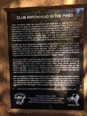 Club Arrowhead in the Pines Marker image. Click for full size.