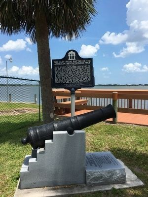 The Last Naval Battle Marker and Cannon Monument image. Click for full size.