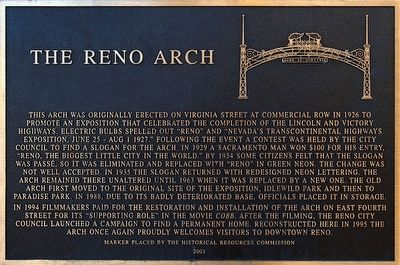 The Reno Arch Marker image. Click for full size.