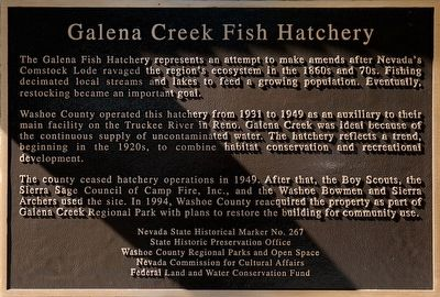 Galena Creek Fish Hatchery Marker image. Click for full size.