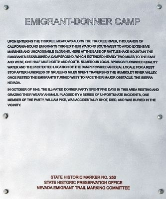 Emigrant-Donner Camp Marker image. Click for full size.