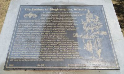The Settlers of Binghampton, Arizona Marker image. Click for full size.