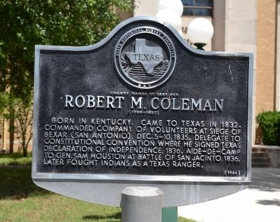 County Named in 1857 for Robert M. Coleman Marker image. Click for full size.