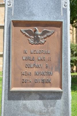 Co. B, 142nd Infantry, 36th Division Memorial Marker image. Click for full size.