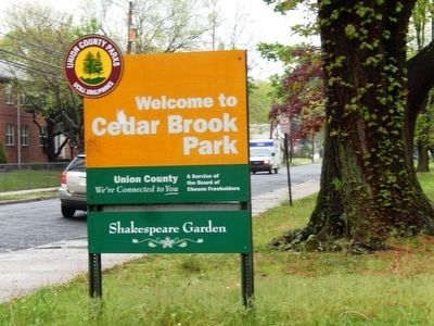 Sign at the entrance to Cedar Brook Park-Shakespeare Garden image. Click for full size.