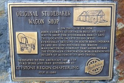 Original Studebaker Wagon Shop Marker image. Click for full size.