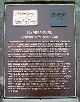 Harrer Park Marker image. Click for full size.
