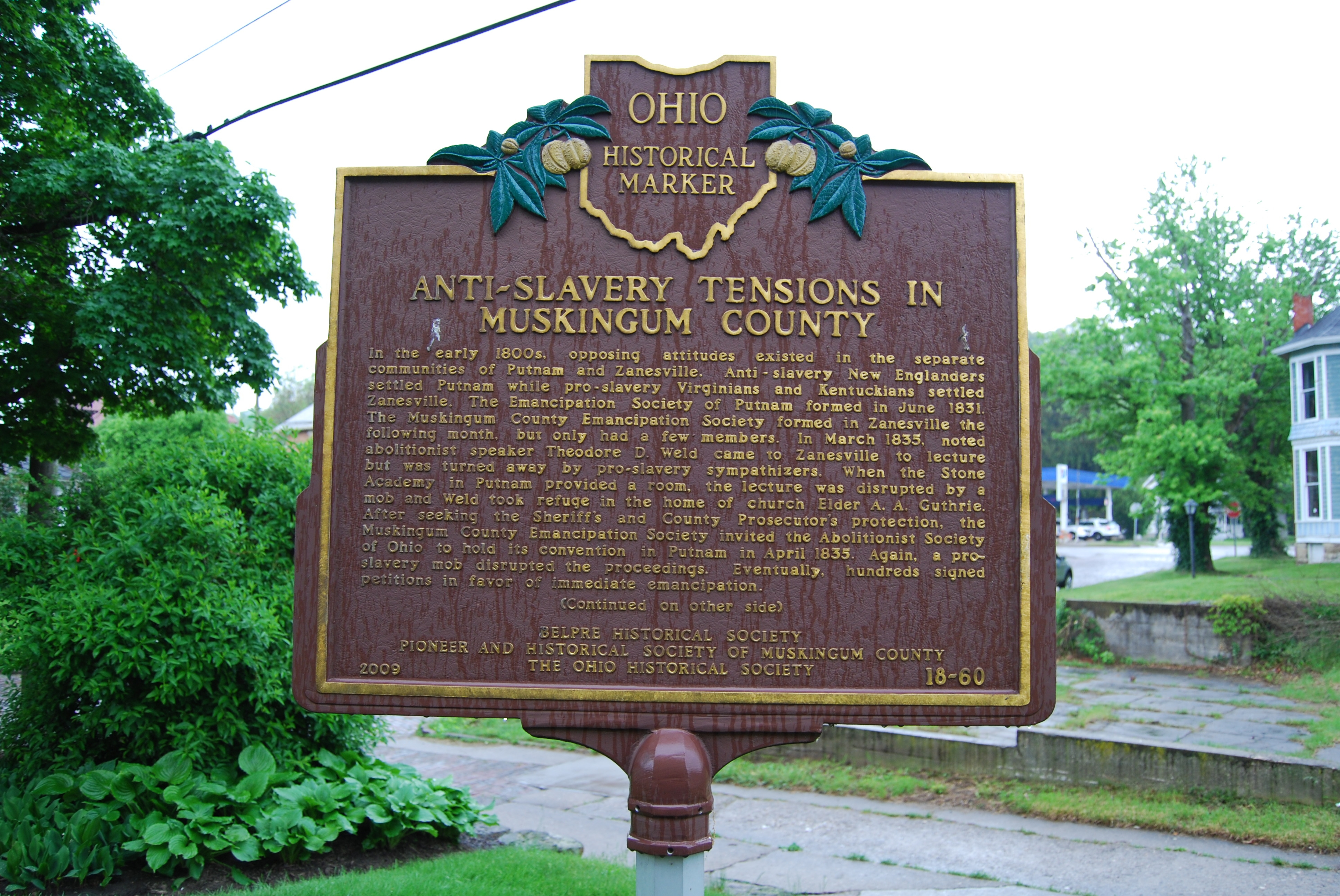 Anti-Slavery Tensions in Muskingum County Marker