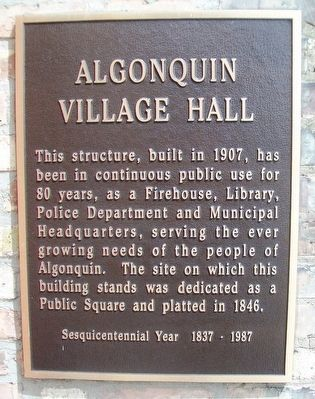 Algonquin Village Hall Marker image. Click for full size.