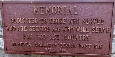 Pandora Veterans Memorial Marker image. Click for full size.