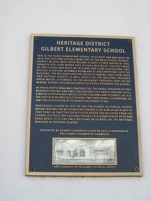 Gilbert Elementary School Marker image. Click for full size.