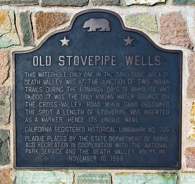 Old Stovepipe Wells Marker image. Click for full size.