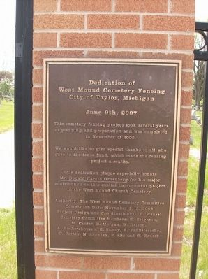 West Mount Cemetery Fencing Dedication Marker image. Click for full size.