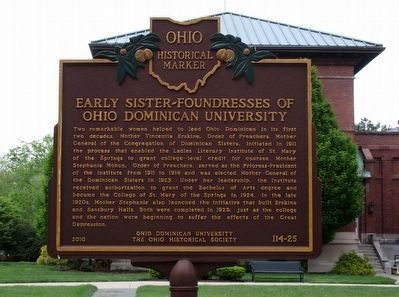 Early Sister-Founderesses of Ohio Dominican University Marker image. Click for full size.