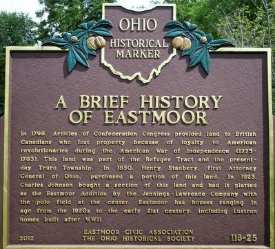 A Brief History of Eastmoor Marker image. Click for full size.