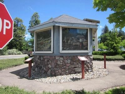 Bullion Bend Robbery Marker, Painting and Kiosk image. Click for full size.